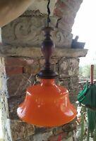 Lampadario Arancione Anni 70 Modernariato Vetro Legno