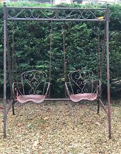 Balancelle en fer 2 fauteuils patinée vert et façon rouille