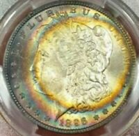 1896 MORGAN SILVER DOLLAR PCGS MS64 BU UNC RAINBOW COLOR TONED BOTH SIDES