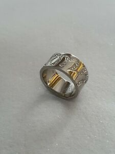 Guess Signed  Silver Tone Stainless Steel Ring