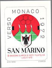 FOGLIETTO 1972 VERSO MONACO '72 III RASSEGNA ARTE SAN MARINO AUTORE GIULIO CUMO