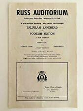 Tallulah Bankhead 'FOOLISH NOTION' 1946 Vintage Show Program San Diego SDHS