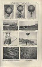 Lithografie 1910: LUFTSCHIFFAHRT. Fessel-Registrierballon Gleit-Motorflieger