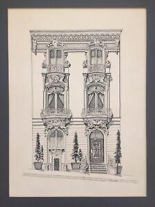 VTG San Francisco Victorian Stick Rowhouse Home SIGNED C HUMPHREY Orig Ink Art