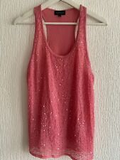 PINK BEADED VEST TOP 10 TOPSHOP SPARKLY CELEB GLAM PRETTY EVENING PARTY SUMMER