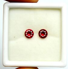 2.00Ct EGL Certified Natural Sizzling Round Cut Red Ruby Gemstone Pair AT3217