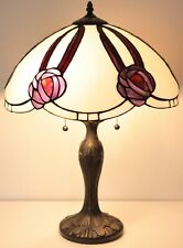 "Tiffany Style Stained Glass White and Burgundy Table Lamp 16"" Shade"