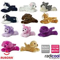 Aurora MINI FLOPSIE CATS & DOGS PLUSH Cuddly Soft Toys Childrens Gift Brand New