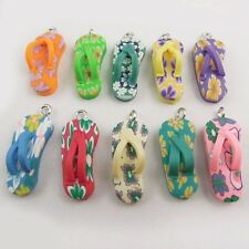 16x Multi-Color Tone Polymer Clay Slippers Pendants Charms Crafts Findings 37407