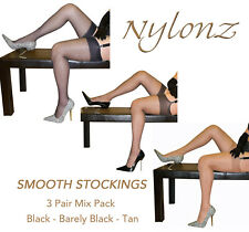3 pairs NYLONZ Silky Smooth Stockings MIX COLOUR PACK