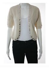 Marc Jacobs Crema di lana GIOIELLO Dettaglio Manica Corta Cardigan Sweater Sz S donna