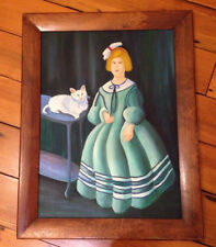 Vtg Amatuer Victorian Style Girl Green Dress Cat Framed Acrylic Painting 21x27
