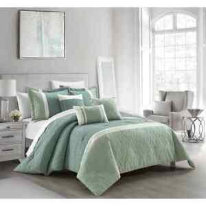 Elegant Beige Green Geometric Pleated Comforter 6 pcs King Queen Set