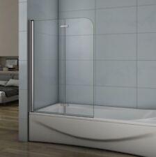 100cm Duschabtrennung Badewannenaufsatz 2-teilig Faltwand ESG Nano-glas Dusche B