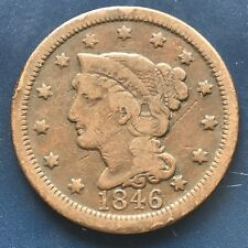 1846 Large Cent Braided Hair One Cent 1c Tall Date Better Grade #9123
