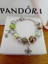 Authentic Pandora bracel with  Camilia,Baccio  and  European charms