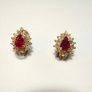 Pear Cut Natural RED RUBY Diamond Earrings 14K Yellow Gold Studs 585 Cluster