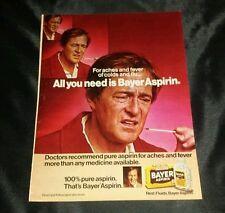 Vintage 1980 Bayer Aspirin Original Full Page Color Magazine Print Ad