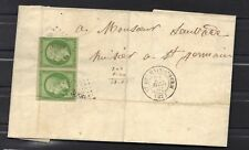NAPOLEON EMPIRE n°12 5 ct vert jaune en paire  PC 3099  1862 Lettre cover  STAMP