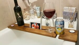 Wooden Bath Caddy Bath Board Shelf Board Tablet/Phone,Wine Glass/Can/Cup Holders