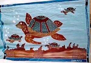 Vintage Fringed Batik Sarong Cover Beach Wrap Scarf Shawl Tapestry Sea Turtles