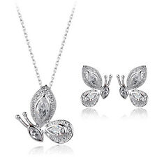ITALINA PLATINUM PLATED GENUINE CUBIC ZIRCONIA BUTTERFLY NECKLACE/EARRING SET