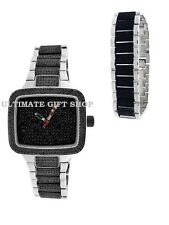 2 PCS OF BLING BLACK AVE CRYSTALS AND SILVER TONE,RECTANGLE WATCH+BRACELET-9011