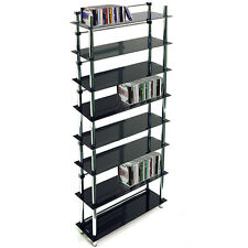 8 Tier DVD / Blu-ray / CD / Media Storage Shelves - Black / Silver MS2408L-8TBLK