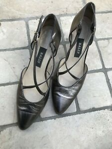 Bally Vintage Leather Shoes 5UK Metallic Pewter Heels Almond Toe Ankle Straps