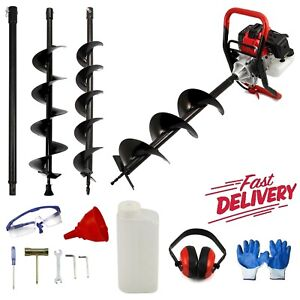 Petrol Earth Auger 3HP Fence Post Hole Borer Ground Drill 3 Bits Extension 65CC