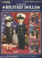 Military Dolls Crochet Uniform Patterns Army Navy Air Force Marines LA 2245