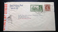 "V.RARE INDIA 1941, DOUBLE ""CENSORED"" MULTIPLE STAMPS COVER TO USA HARD TO FIND"