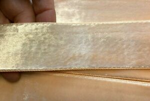 """Vintage Velvet 1.5"""" Ribbon Rayon Peach 1yd Made in France"""