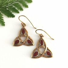 Large Gold Celtic Trinity Earrings on Hooks Set With Red Agate Stone