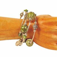 Lime Green Glass Pearl Shell Silver Tone Charm Handmade Wrap Coil Bracelet