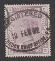 Great Britain Sc# 96 Used 2sh6p Lilac Queen Victoria 1883 GB Registered London
