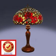 Tiffany Style Rose Stained Glass Victorian Style Rose Table Lamp   Free  Shipping