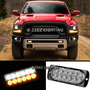 1X White&Amber 12 LED Emergency Hazard Caution Strobe Beacon Warning Light Bar94