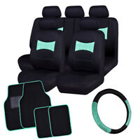 Universal Car Seat Covers with lace Steering Wheel Cover & Car Floor Mats Mint