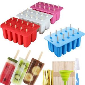 10 Stück Eisformen Popsicles Silikon Stieleisform Eis am Stiel Formen Ice Pop