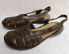 NEW CLARKS BENDABLES BROWN LEATHER SHOES~WOMENS 9 M ~ADJUSTABLE SLING BACK~60314
