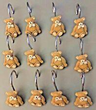 Brown Resin Teddy Bear 12pc Shower Curtain Rings/Hooks Set