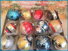 Antique Glass Vintage Xmas Tree Xmas Ornaments Indent Lanterns Stencils Gllitter