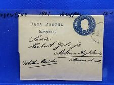 Argentina 1901 1 Centavo Postal Stationery Wrapper Buenos Aires to Massachusetts