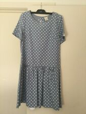 Ladies BNWT PRUDENCE & PERCIVAL blue & white spot tea party dress SIZE M NEW