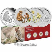 Australia 2016 Year of Monkey Lunar Zodiac 4 Coin $1 1 Oz Silver Dollar Type Set