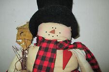 Stuffed Christmas Holiday & Winter Snowman Bird House, Wooden Heart, Plaid Cloth