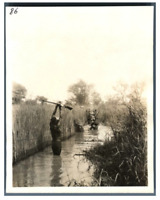Tchad, Passage d'un marigot  Vintage silver print. Série de photos avec le