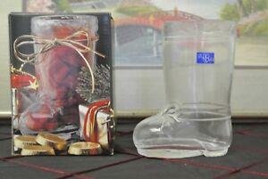"STUDIO NOVA 5"" GLASS BOOT CHRISTMAS CANDY HOLDER, MADE IN JAPAN"