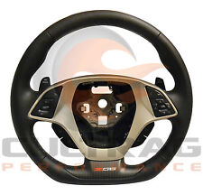 2015-2018 C7 Corvette Z06 Steering Wheel Manual Black Leather Gray Stitching